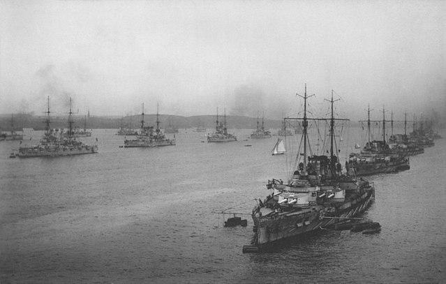 The I and II squadrons of the German High Seas Fleet in Kiel Bay