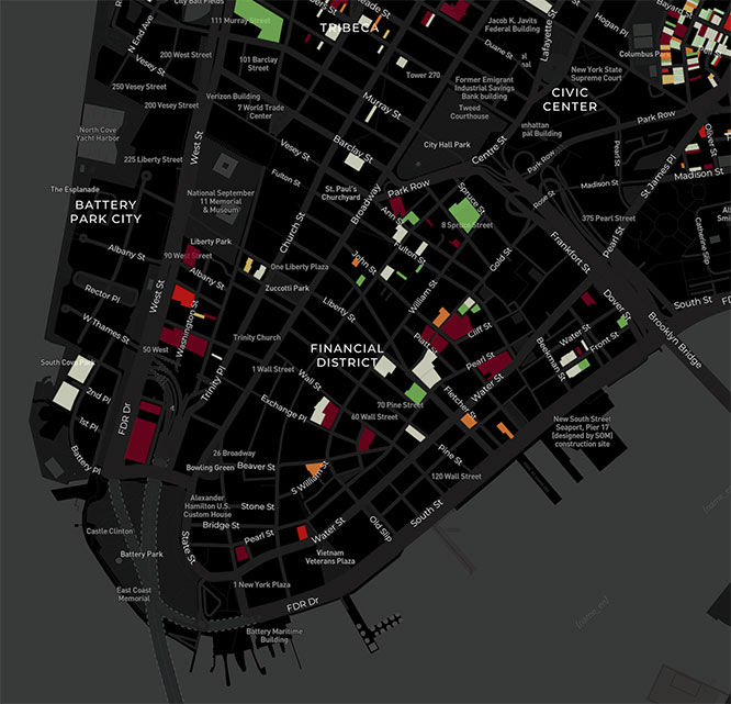 The Displacement Alert Map quantifies the loss of rent-stabilized apartments in Lower Manhattan, with buildings colored in red signifying the greatest loss of such units in percentage terms.