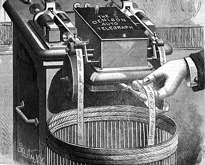 "By the 1860s, ticker-tape machines had replaced human ""runners."""
