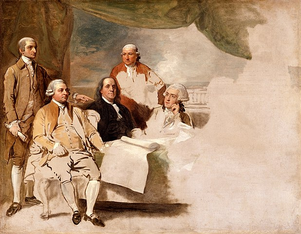 Benjamin West's American Commissioners of the Preliminary Peace Negotiations with Great Britain - the British officers involved refused to sit for the painting