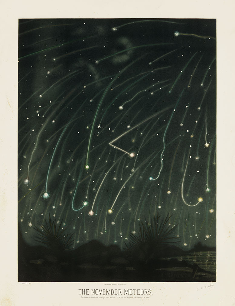"""The delightful meteor shower image, """"The November Meteors"""" by Etienne Leopold Trouvelot, would have been inspired by the annual Leonid meteor shower."""