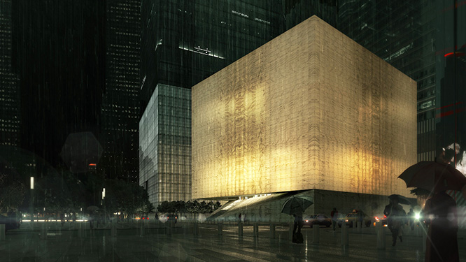 The Perelman Performing Arts Center (shown here in an architect's rendering) was recently given an $89-million grant by the Lower Manhattan Development Corporation. Now under construction at the World Trade Center site, the project is expected to open in 2021.