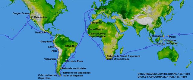 Map of Francis Drake's circumnavigation