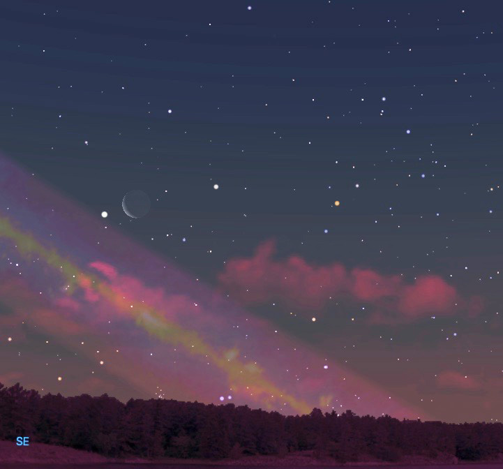 January 31, southeast to south-southeast, one hour before sunrise.  Image by Judy Isacoff/Starry Night