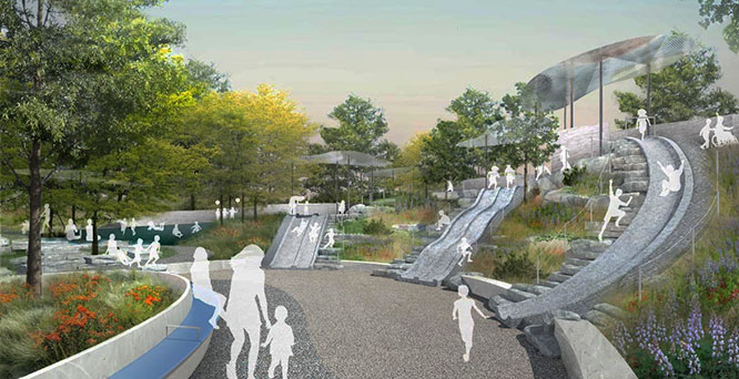 """Granite slides in the """"Adventure Bluffs"""" section of the Playscape planned for the Battery. Illustration courtesy : BKSK ARCHITECTS LLP"""