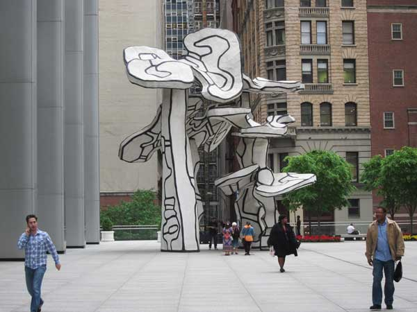 "Jean Dubuffet's ""Four Trees"" on the Plaza at 28 Liberty"