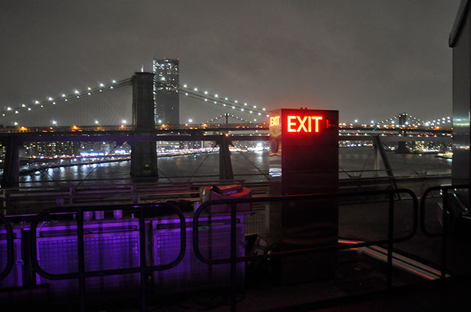 East River bridges at night from the top of the new Pier 17 looking north