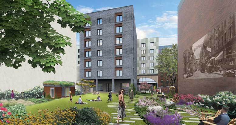 The proposed Haven Green senior housing facility would create 123 affordable housing units for seniors, while also incorporating a new open space, which would be smaller than the existing Elizabeth Street Garden.
