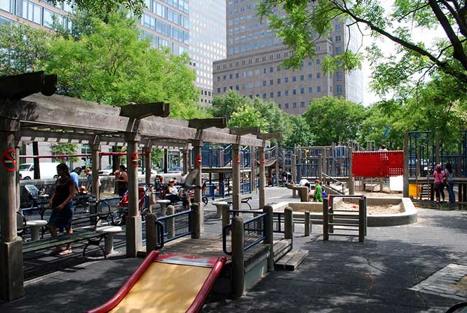 The playground in Rockefeller Park will soon undergo a $1.5-million rehabilitation.