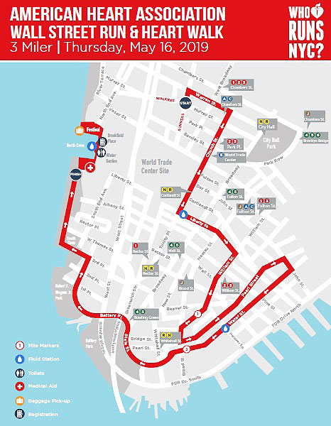 The planned route of the American Heart Association's Wall Street Run, slated for this May, will trigger numerous street closures during the evening rush hour.