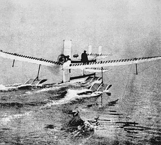 Henri Fabre in 1910 with his seaplane, Hydravion