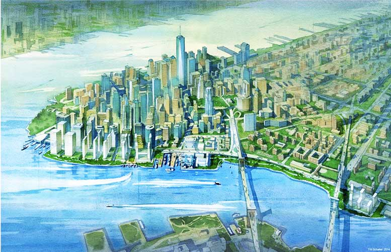 A conceptual rendering of 100 acres of new landfill along the East River
