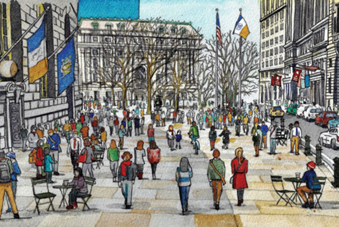 A rendering of how Bowling Green Park could be expanded if part of Broadway were given over to pedestrians.