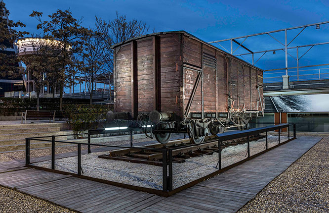 """This freight car, used to transport victims of the Holocaust, will soon be installed outside the Museum of Jewish Heritage, as part of its upcoming exhibit, """"Auschwitz. Not long ago. Not far away."""""""