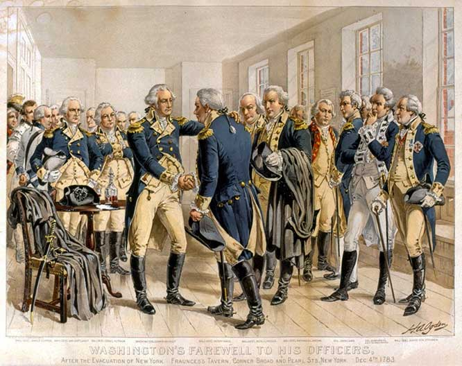 This 1883 engraving by Henry Alexander Ogden depicts (100 years after the fact) Washington's farewell address to his troops in 1783, in the Long Room at Fraunces Tavern.