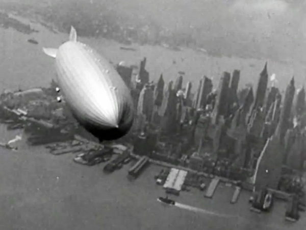 Hindenburg over lower Manhattan