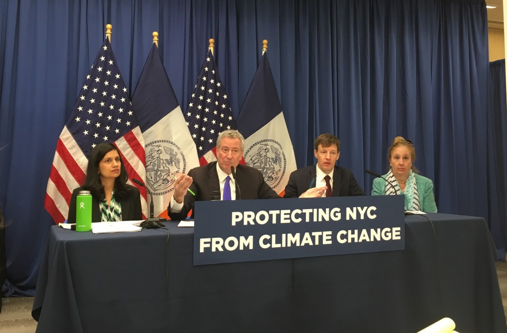 """Mayor Bill de Blasio: """"We will initiate an effort that is estimated cost $10 billion to extend the shoreline of Lower Manhattan into the East River to protect the Seaport area and the Financial District all the people and live in work there."""""""