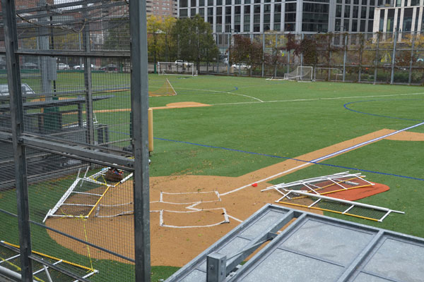The Battery Park City ball fields were largely destroyed by Hurricane Sandy in 2012, but expedited repair work allowed them to reopen the following spring.