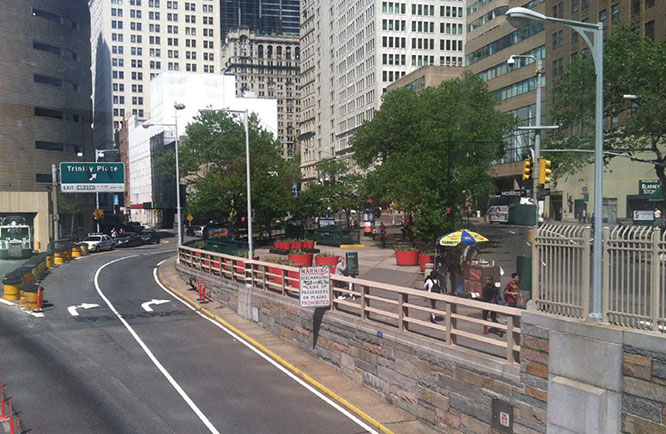 The exit ramp from the Brooklyn-Battery Tunnel