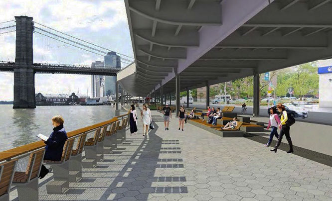 Community Board 1 wants this land devoted to public uses, under the plan for Brooklyn Bridge Esplanade, which is currently in the design phase.