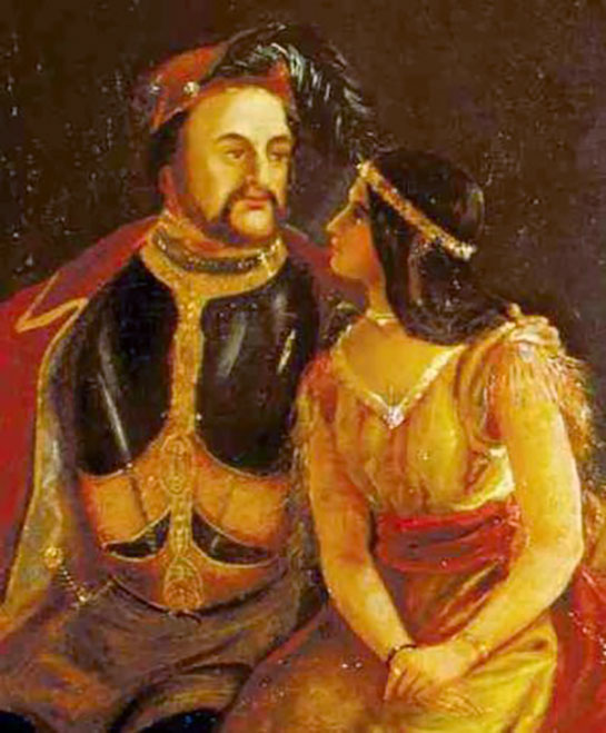 An 1850s painting of John Rolfe and Pocahontas