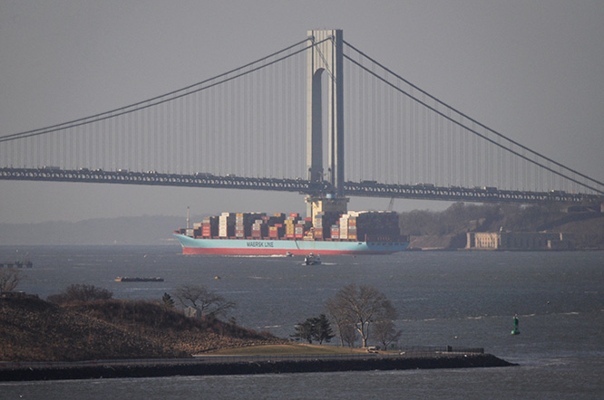 Maersk container ship outbound for sea
