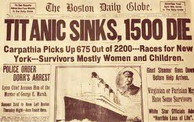 Titanic Sinks Newspaper Headline