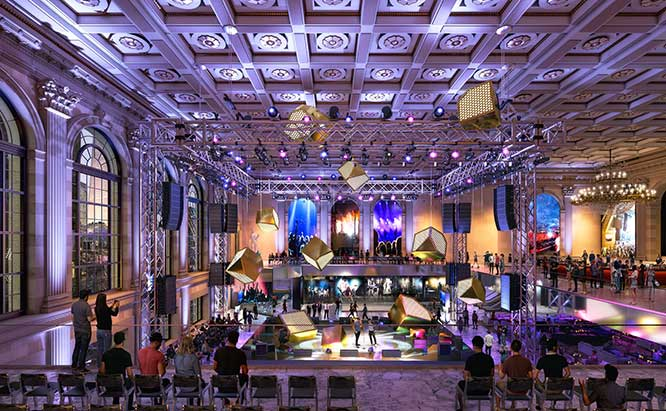 """An interior view of the """"experiential retail"""" proposal from 2018, which also conveys some sense of what the trading floor would look like if converted into a concert venue, as is now being proposed"""