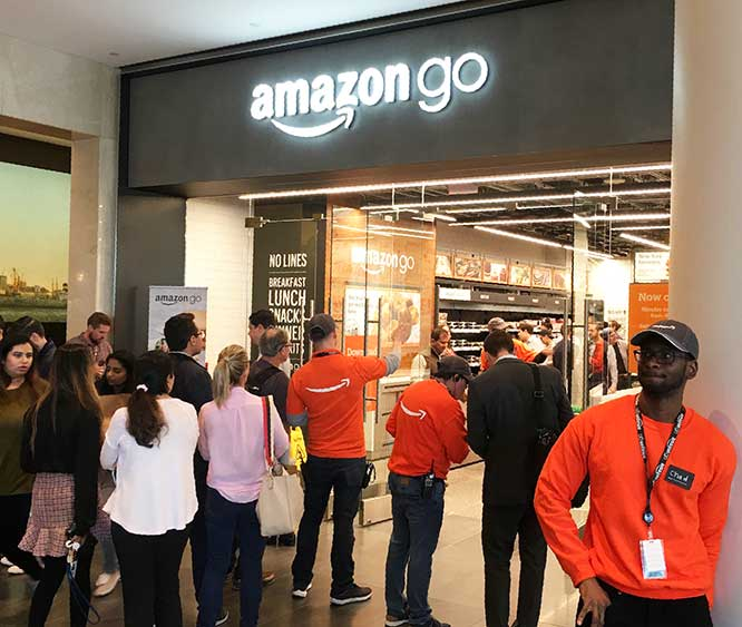Retail, Reimagined: The new Amazon Go store in Brookfield Place drew capacity crowds to its opening on Tuesday.