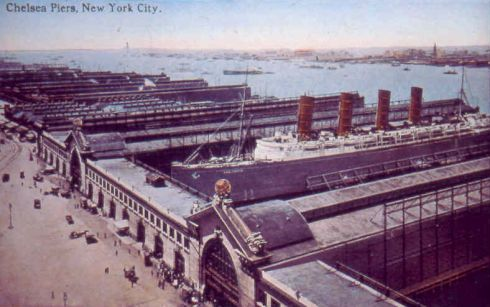 Lusitania docked at Chelsea Piers