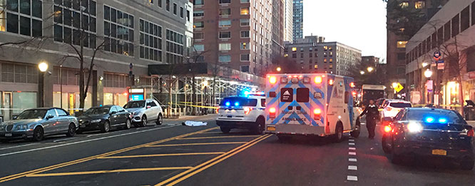 April 4 on South End Avenue: Pedestrian Arlene Kalfus is run over and killed by a Downtown Connection bus.
