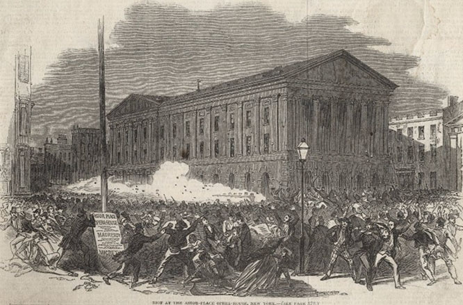 The Astor Place Riot occurred on May 10, 1849 and left a few dozen rioters dead and more than one hundred injured.